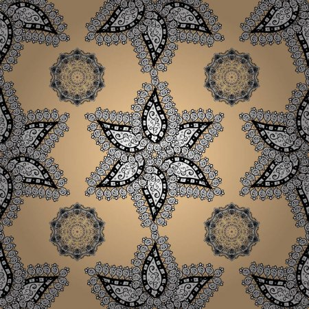 Damask for design. Vector on beige background with...