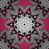 Traditional classic white vector pattern on pink background with white elements Seamless oriental ornament in the style of baroque