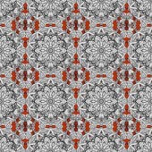 Decorative symmetry arabesque Seamless pattern medieval floral royal pattern White on brown background Vector illustration Good for greeting card for birthday invitation or banner
