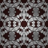 Brown background with white elements Seamless pattern White with floral pattern Vector white floral ornament brocade textile and glass pattern