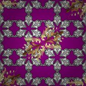 Seamless classic vector golden pattern Floral ornament brocade textile pattern glass metal with floral pattern on magenta background with golden elements