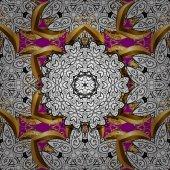 Islamic design Golden pattern on magenta background with golden elements Seamless pattern oriental ornament Floral tiles Vector golden textile print