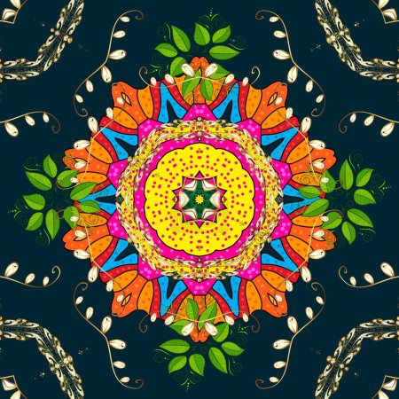 Illustration for Tiled mandala design, best for print fabric or papper and more. Boho style flower seamless pattern. Vector Mandala. Blue, green and yellow colors. - Royalty Free Image