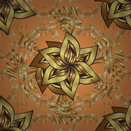 Illustration for Golden pattern on orange and brown colors with golden elements. Vector traditional orient ornament. Seamless classic golden pattern. - Royalty Free Image