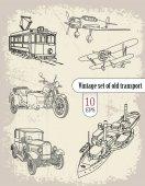 Set of vintage transport vehicles vector illustration