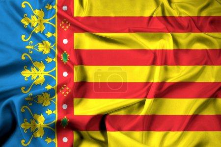 Waving Flag of Valencian Community, Spain