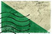 Flag of Huanuco, Peru, old postage stamp