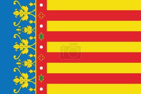 Flag of Valencian Community, Spain. Vector Format