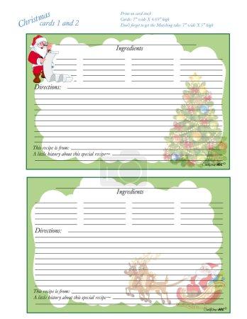 Illustration pour Profitez de ces amusantes et mignonnes cartes de recette de Noël 5 x 7.N'oubliez pas de ramasser vos cartes de séparateur de Noël correspondant pour compléter votre ensemble . - image libre de droit
