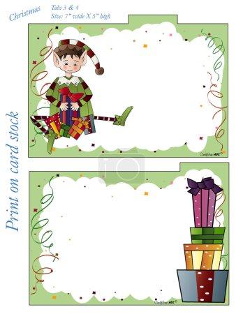 Illustration pour Onglets de diviseur de Noël pour vos 5 x 7 cartes de recettes. N'oubliez pas de prendre les cartes de recettes de Noël correspondantes pour compléter votre ensemble . - image libre de droit