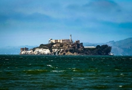Alcatraz View from San Francisco In California from Ferry