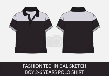 Illustration for Fashion technical sketch for boy 2-6 years polo shirt in vector graphic - Royalty Free Image