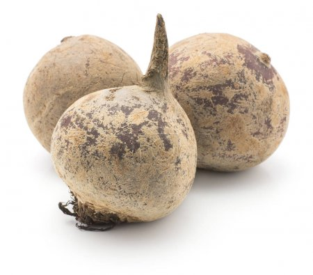 Three beetroot (raw red beet) bulbs isolated on white backgroun