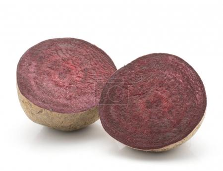 Beetroot (raw red beet) isolated on white background one bulb cut in hal