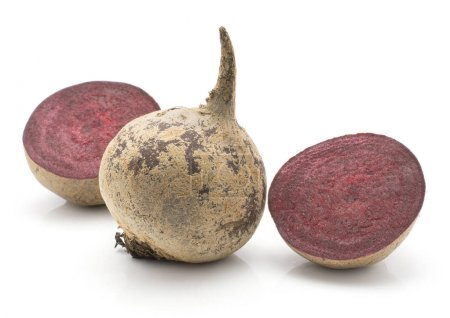 Beetroot (raw red beet) isolated on white background one bulb and two halve
