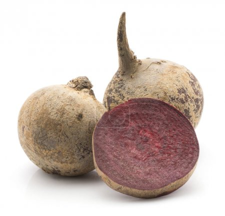 Two beetroot (raw red beet) bulbs and  one slice isolated on white backgroun