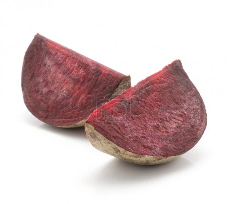 Two beetroot slices (raw red beet) isolated on white backgroun