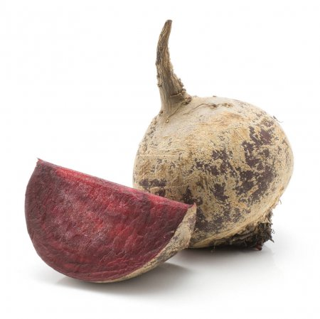 One beetroot bulb and one slice (raw red beet) isolated on white backgroun