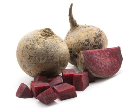 Two beetroot bulbs (raw red beet) and two pieces isolated on white backgroun