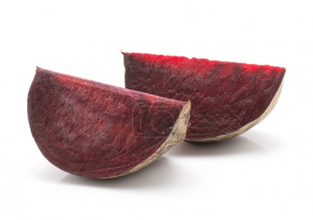 Beetroot (raw red beet) two slices isolated on white backgroun