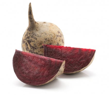 Beetroot (raw red beet) one bulb and two slices isolated on white backgroun
