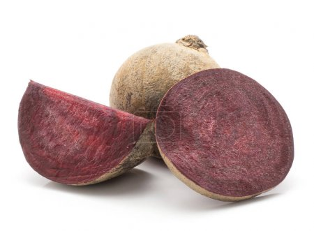 Beetroot (raw red beet) isolated on white background one bulb sliced ring and a slic