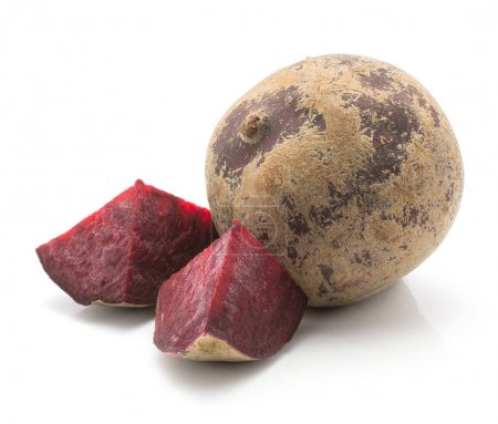 One beetroot bulb (raw red beet) and two pieces isolated on white backgroun