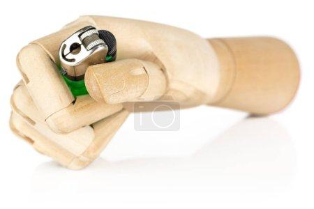 Photo pour Un briquet entier en plastique avec la main en bois isolée sur fond blanc - image libre de droit