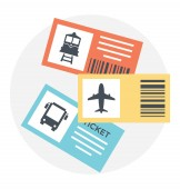 Flat icon of tickets of different traveling mediums