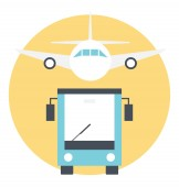 Flat icon of different traveling mediums