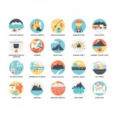Flat Icon Set of Outdoor Traveling and Camping