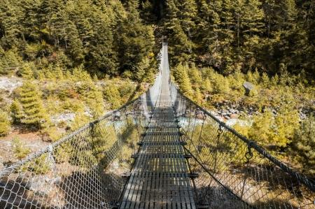 hanging bridge over mountain river