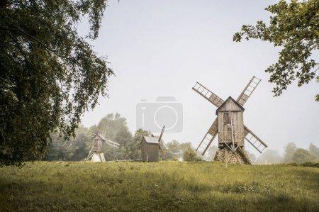 Photo pour Belle vue sur le paysage des moulins à vent dans le champ vert, Estonie, Tallinn - image libre de droit