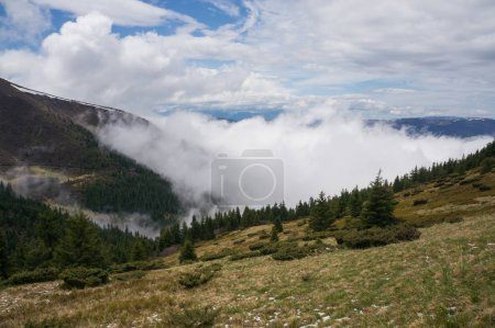 Photo for Beautiful scenic landscape with mountains and cloudy sky, Ukraine, Carpathians, may 2016 - Royalty Free Image