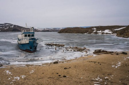 Frozen sea and boat