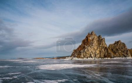 Photo for Scenic view of frozen river with mountains in winter, Russia, Lake Baikal, march 2016 - Royalty Free Image