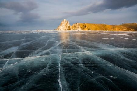 frozen river and mountains