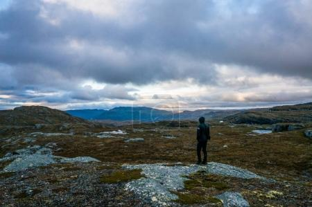 Person standing on meadow