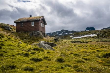 Photo pour Beautiful landscape with little house on meadow with mountains, Norway, Hardangervidda National Park, september 2015 - image libre de droit