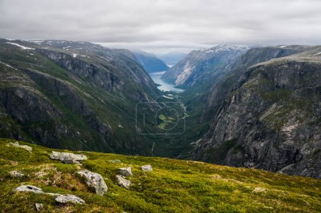 Photo for Beautiful landscape view of mountains and clouds, Norway, Hardangervidda National Park, september 2015 - Royalty Free Image