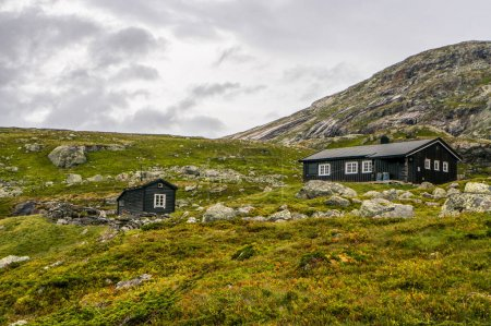 Photo pour Beautiful landscape with little houses on meadow with mountains, Norway, Hardangervidda National Park, september 2015 - image libre de droit