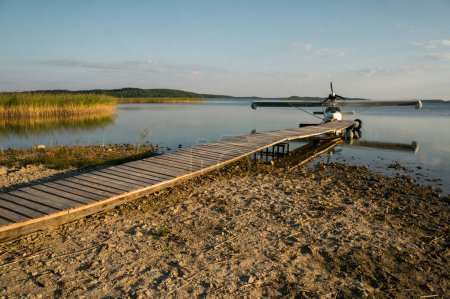 floatplane at wooden pier