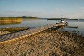 floatplane at wooden pier