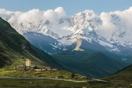 town in snowy mountains