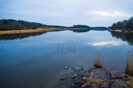 Photo for Scenic view of peaceful river and trees on background, Russia, Pyatigorsk, may 2017 - Royalty Free Image