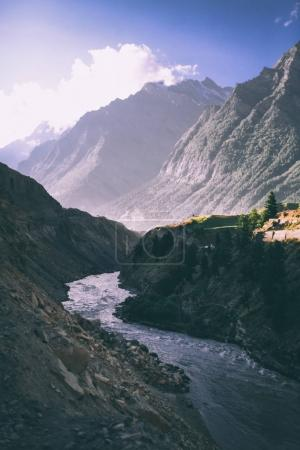 Photo for Beautiful mountain river in valley and majestic mountains in indian himalayas, keylong region - Royalty Free Image