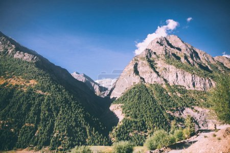 beautiful scenic landscape with majestic rocky mountains in indian himalayas