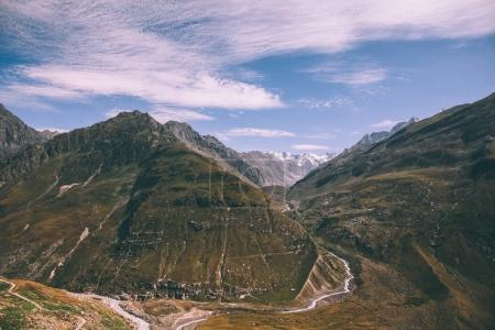 Photo for Beautiful scenic mountains and footpath in Indian Himalayas, Rohtang Pass - Royalty Free Image