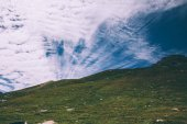 beautiful scenic mountain landscape with blue sky and white clouds, Indian Himalayas, Rohtang Pass