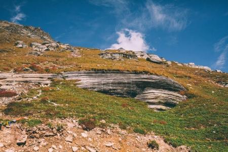 beautiful mountain landscape with huge rocks in Indian Himalayas, Rohtang Pass